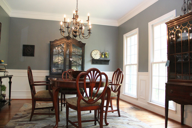 Smoky Blue Dining Room with Brown and Black accents