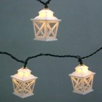 Garden Treasures White Mini Bulb Crisscross Lantern Patio ...