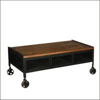 Industrial Mango Wood & Iron Rolling Coffee Table w ...