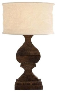 Country Inspired Wooden Lamp with Cream Color Shade ...