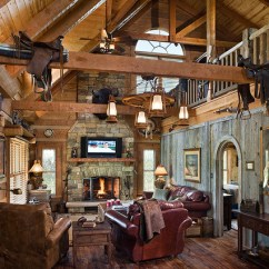 Tall Floor Vases For Living Room 2 Sofas In Log Home With Barn Wood And Western Decor - Traditional ...