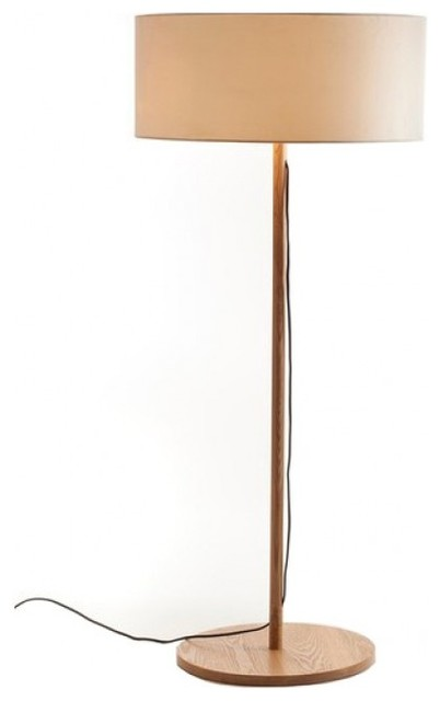 Drum Fabric Shade Modern Wooden Floor Lamp