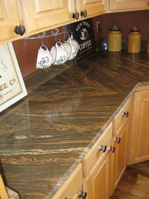 Snake Brown Granite  Contemporary  Kitchen  portland