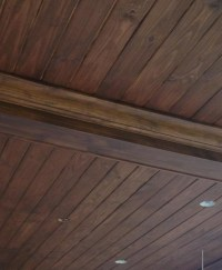 Pine patio tongue and groove ceiling stained to look like ...