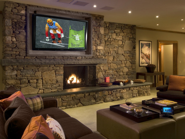 Living Room Theater  Craftsman  Family Room  cleveland  by Man Caves Audio Video