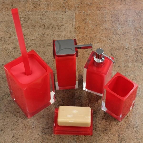 Rainbow Red Bathroom Accessory Set  Contemporary