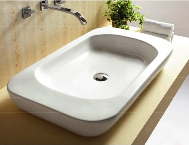 Large Modern Flat Ceramic Vessel Bathroom Sink by Caracalla  Modern  Bathroom Sinks