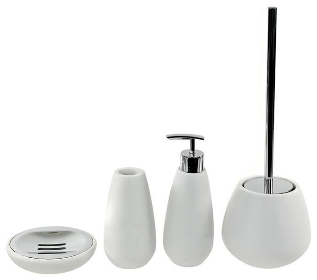 4 Piece White Stone Bathroom Accessory Set  Contemporary