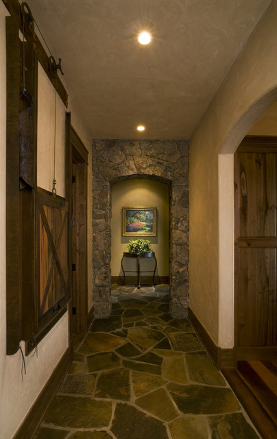 rustic cabin living room decorating ideas with sectional and chair lake hallway - hall denver by lynne ...