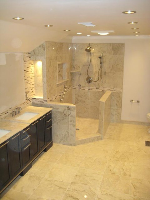 Perlato Beige Marble Bathroom  Modern  Bathroom