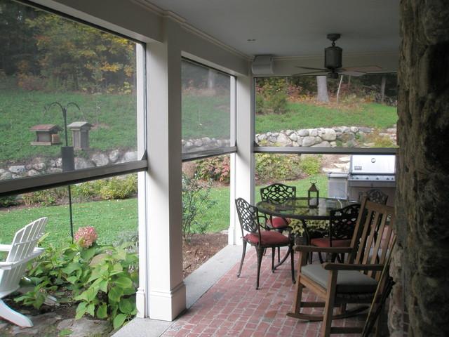 Retractable screens at classic New England Farmhouse