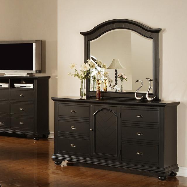 Napa Black Dresser and Mirror  Contemporary  by