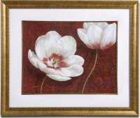 White And Burgundy Floral Framed Wall Art