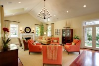 A pop of orange - Traditional - Living Room - los angeles ...