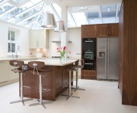 Walnut & painted Classic Panel kitchen - Contemporary ...