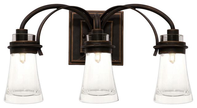 KALCO Lighting 2913AC Dover Antique Copper 3 Light Vanity  Farmhouse  Bathroom Vanity Lighting