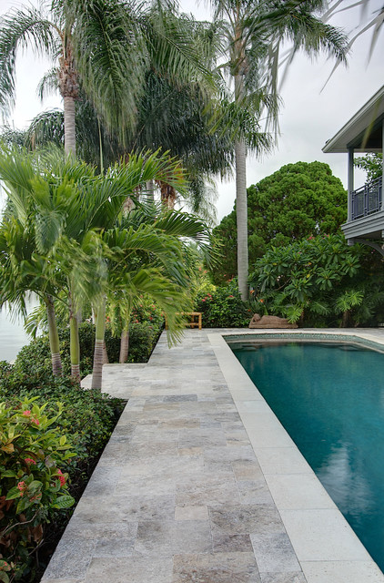silver travertine pavers - tropical