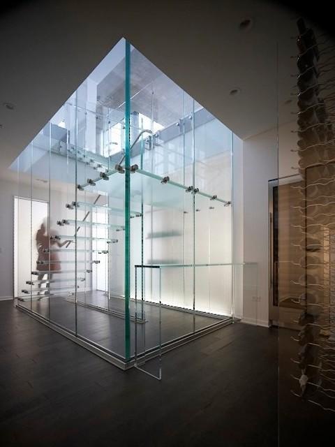 Glass Stair  Modern  Staircase  chicago  by Thomas Roszak Architecture LLC