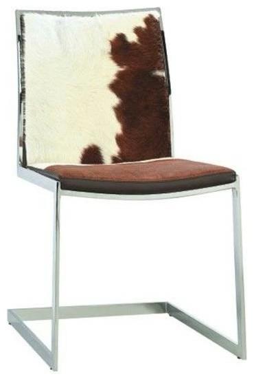 Cowhide Lunar Chair WhiteBrown Cowhide  Modern  Dining