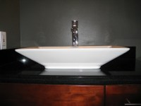 Granite Vanity Top, Raised Sink & Deck Mount Faucet