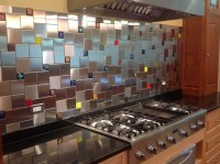 Colorful Glass Accent Tiles in Backsplash by Uneek Glass ...