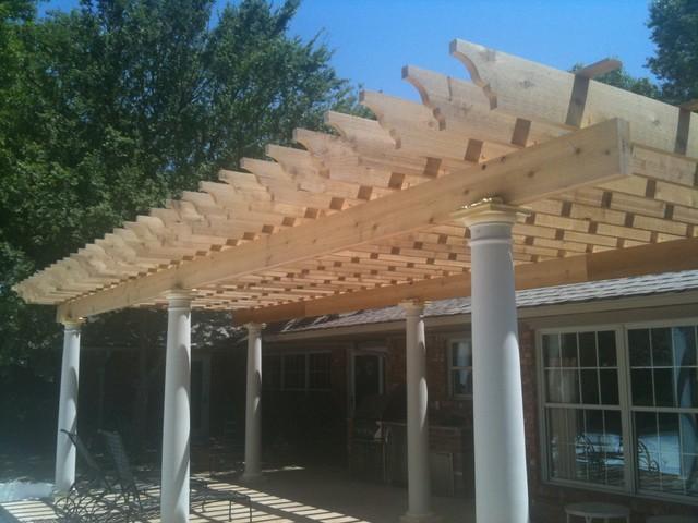 Fiberglass Columns And Cedar Wood Pergola Traditional