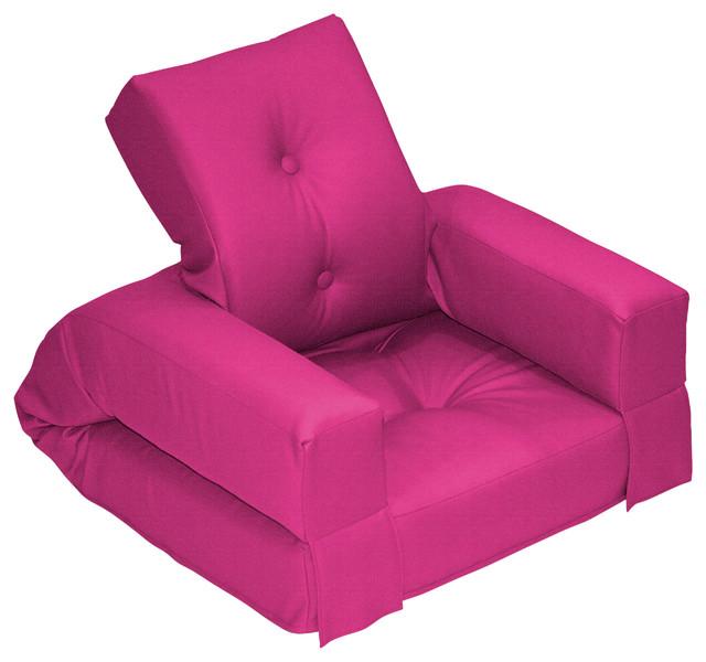 Hippo Jr Convertible Futon Chair Bed Pink Mattress Contemporary Sofa
