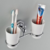 Vintage Wall Mounted Toothbrush Tumbler Holder Double ...