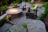 Alexandria Sloped Yard - Raised Patio, Fire Pit, & Water ...