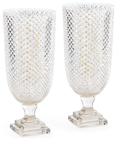 Diamondcut Glass Hurricane Lamp Lantern, Set of 2 Candle