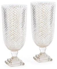 Diamondcut Glass Hurricane Lamp Lantern, Set of 2 Candle