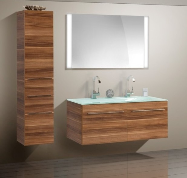 Double sink Modern Bathroom Cabinet with different color
