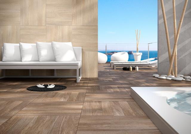 Teak Timber Porcelain Tiles  Contemporary  Patio  brisbane  by The Marble Merchant Pty Ltd