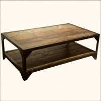 Industrial Wrought Iron & Old Wood 2 Tier Coffee Table ...