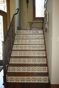 Hickory Stairs with Mosaic Tile Risers