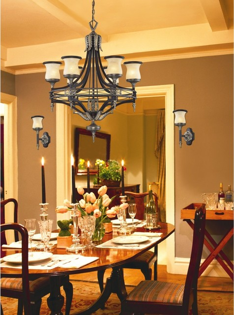 Traditional Design 6 Light Bronze Wrought Iron Dining Room