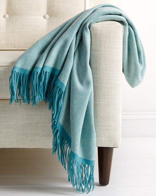 Wool Herringbone Throw Turquoise Blue Fringe Luxury
