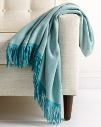 Wool Herringbone Throw Turquoise Blue Fringe Luxury