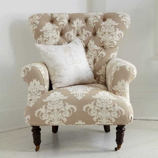 button back cream patterned armchair  Farmhouse
