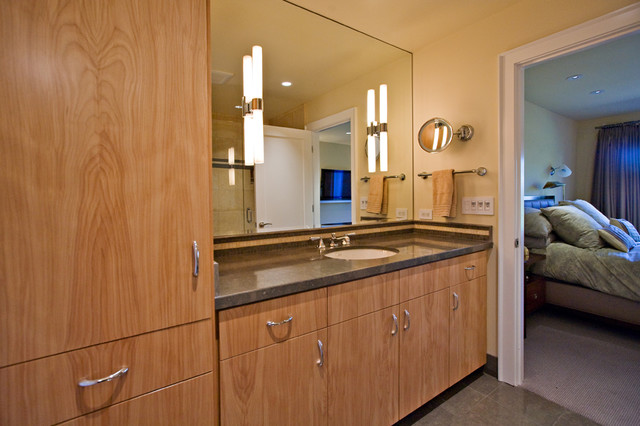 Master Bathroom With Euro Style Custom Cabinets Modern