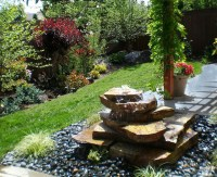 Stacked Rock Fountain - Eclectic - Landscape - other metro ...
