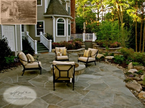 stone patio & fire pit - traditional