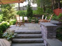 Backyard stone patio - Traditional - Patio - boston - by ...