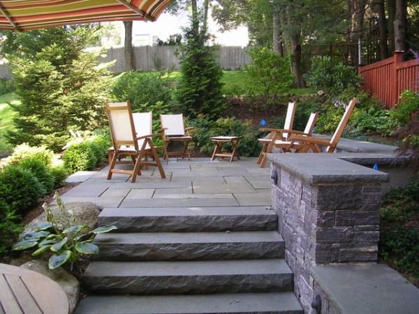 backyard stone patio - traditional