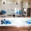 Blue art glass splashbacks contemporary kitchen