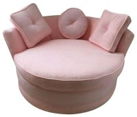Pre-owned Round Loveseat in Pink Velvet - Living Room Chairs