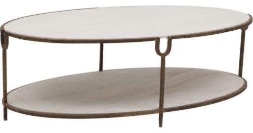 Iron And Stone Oval Coffee Table Contemporary Coffee