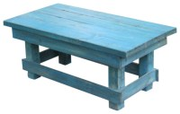 Aqua Distressed Coffee Table, Rustic Turquoise - Rustic ...