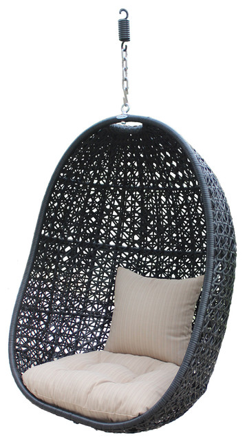Nimbus Modern Outdoor Hanging Basket Chair with Stone