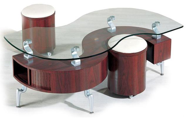 MODERN MAHOGANY COFFEE TABLE WITH STOOLS SIGMA